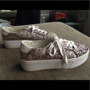 Steve Madden Wedged Sneakers Bling Glitter Shoes